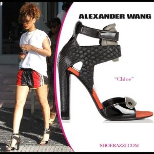 Alexander Wang Chloe Grey Red Suede Leather Sandal